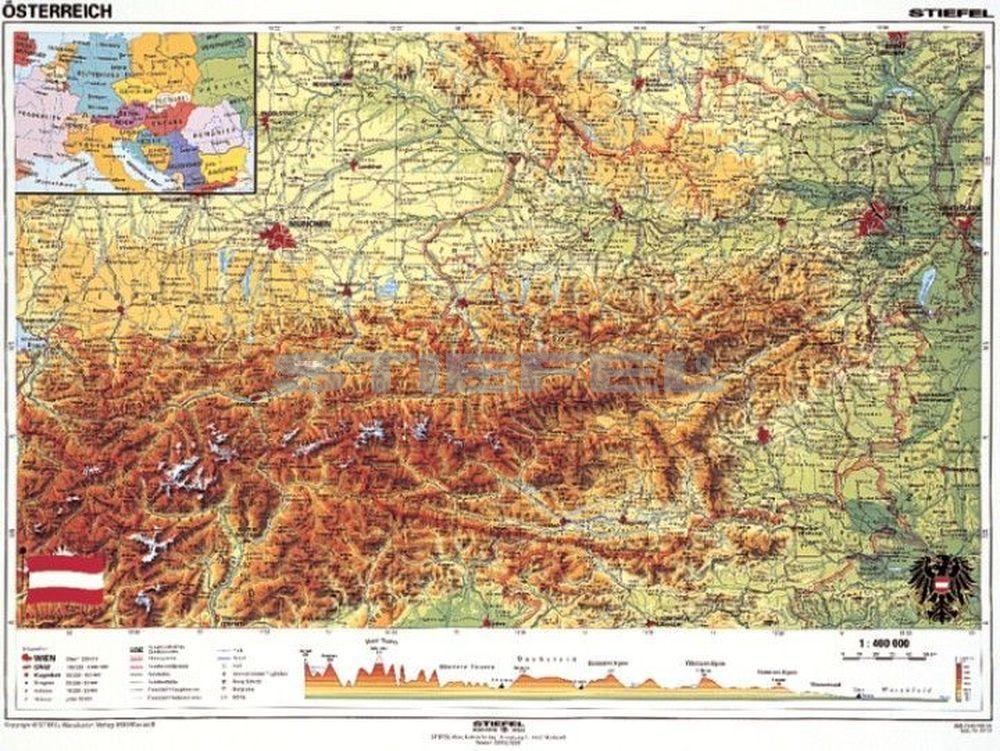 ausztria domborzati térkép Ausztria, domborzati + politikai DUO (német) ausztria domborzati térkép