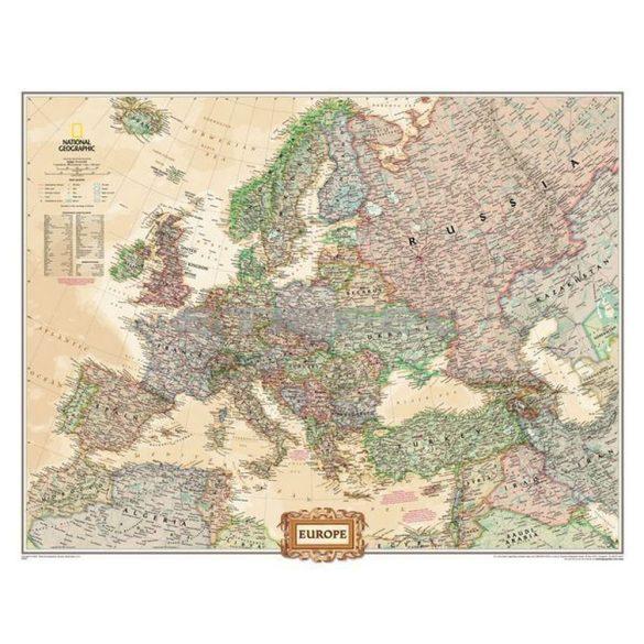 Európa antik színezésű térképe fémléces