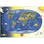 Gyermek világtérkép fóliás-fémléces