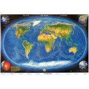 A Föld panorámatérképe a tengerfenék domborzatával, tűzhető, keretes falitérkép