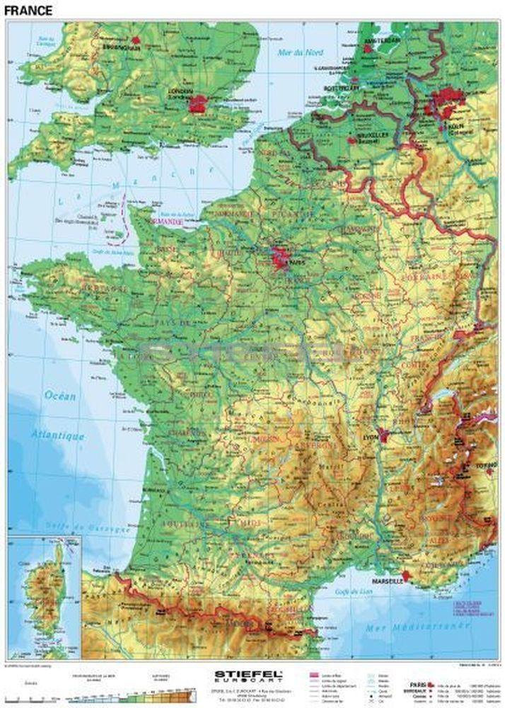 franciaország domborzati térkép Franciaország, domborzati (francia) franciaország domborzati térkép