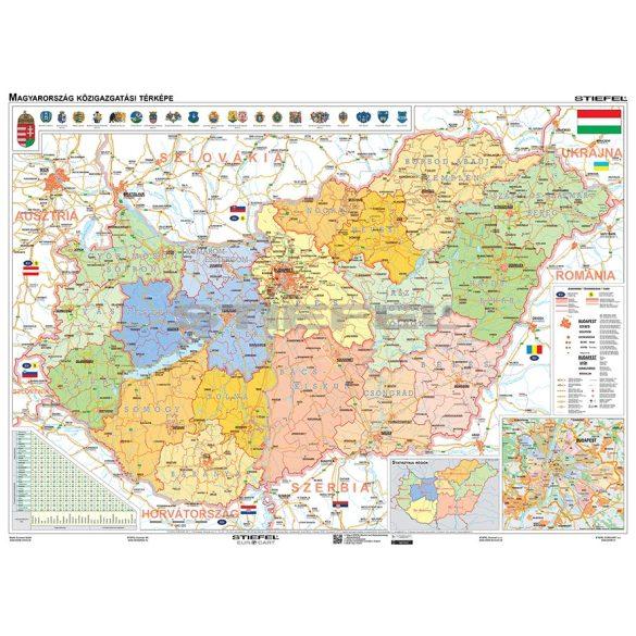 Magyarország közigazgatása iskolai falitérkép, DUÓ - hátoldalon közigazgatási vaktérképpel