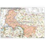 Magyarországi megyék választási térképe egyéni választókerületekként fémléces 100x70 cm, 1 db ajándék könyöklővel