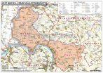 Magyarországi megyék választási térképe egyéni választókerületekként keretes 100x70 cm 5 db ajándék könyöklővel