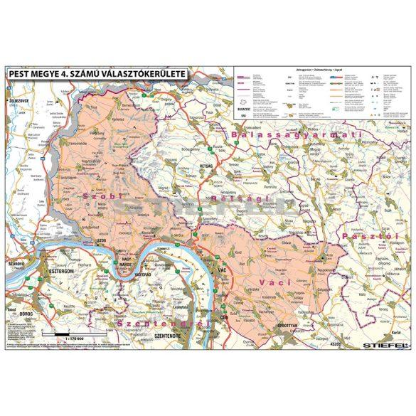 Magyarországi megyék választási térképe egyéni választókerületekként keretes 100x70 cm