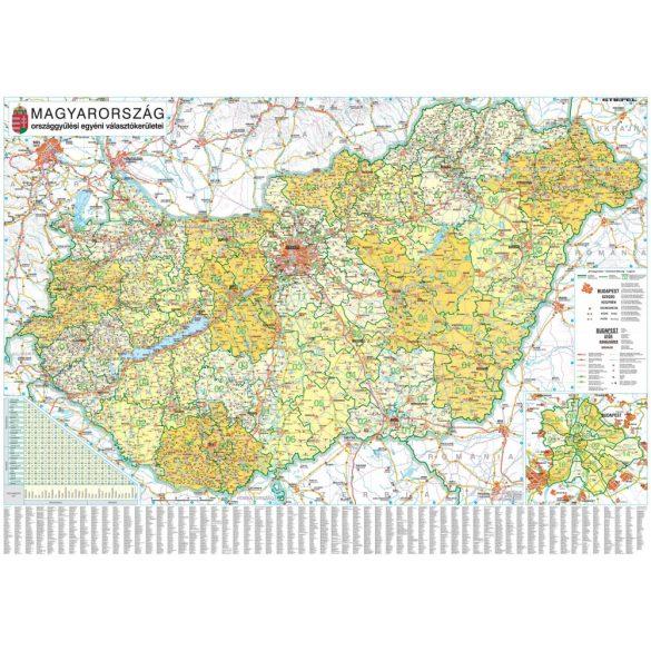 Magyarország országgyűlési választókerületei (2018), tűzhető, keretes térkép