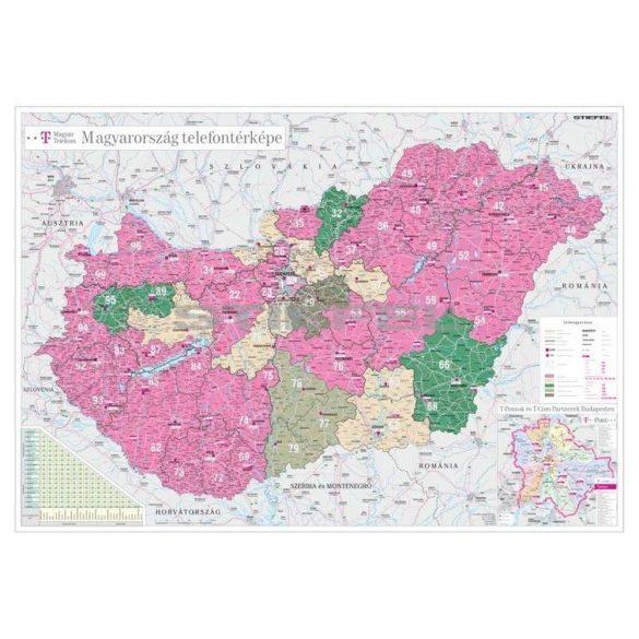 Magyarország telefontérképe, tűzhető, keretes