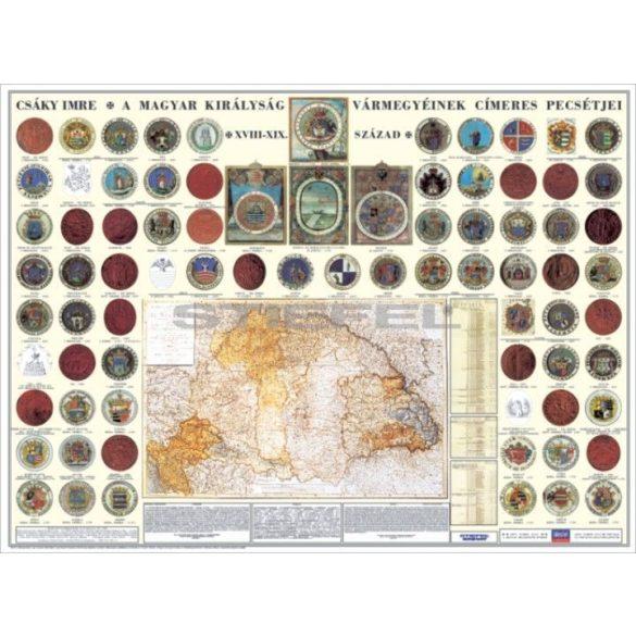 A Magyar Királyság vármegyéinek címerei és pecsétjei tabló, fóliázott, fémléces