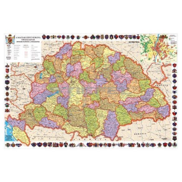 A Magyar Szent korona országai falitérkép, tűzhető, keretes