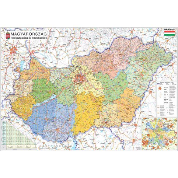 Magyarország közigazgatása keretezett, tűzhető térkép