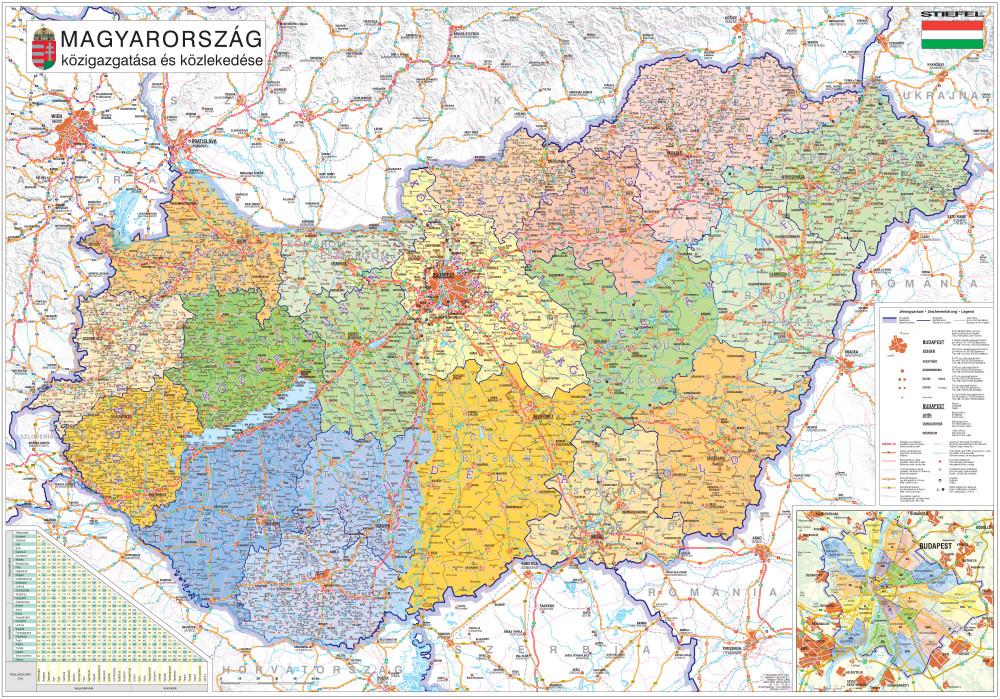 magyar térkép Magyarország közigazgatása keretezett, tűzhető térkép