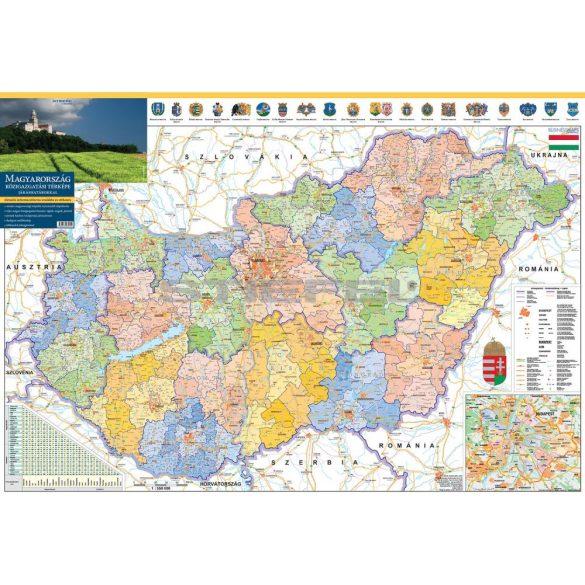 Magyarország közigazgatása eltérő járás színezéssel hajtogatott térkép