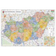 Magyarország közigazgatása térkép eltérő járás színezéssel keretezett, tűzhető
