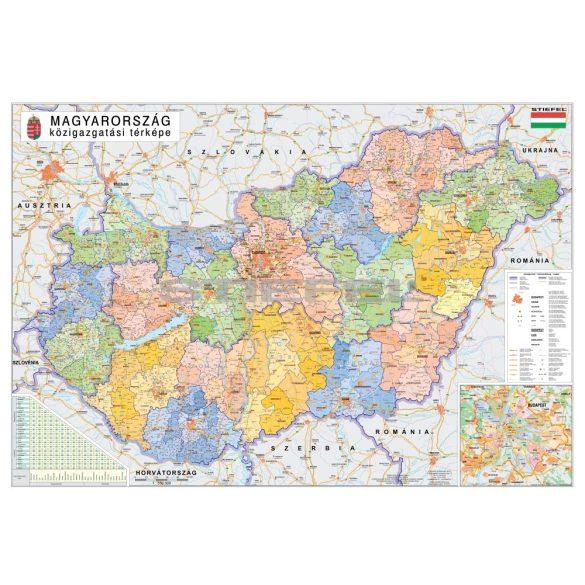 Magyarország közigazgatása térkép a járásokkal keretezett, tűzhető
