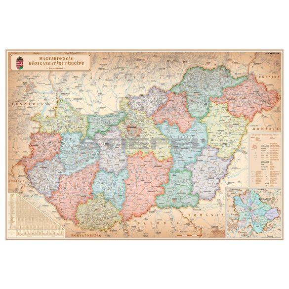 Magyarország közigazgatása különleges színezésű falécezett falitérkép