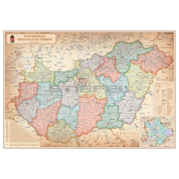 Magyarország közigazgatása különleges színezésű fémléces falitérkép