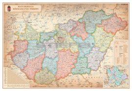 Magyarország közigazgatása különleges színezésű keretezett falitérkép