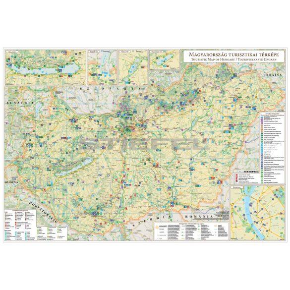 Magyarország turisztikai térképe fóliázott, lécezett