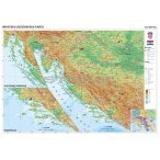 Horvátország domborzati térképe, tűzhető, keretes