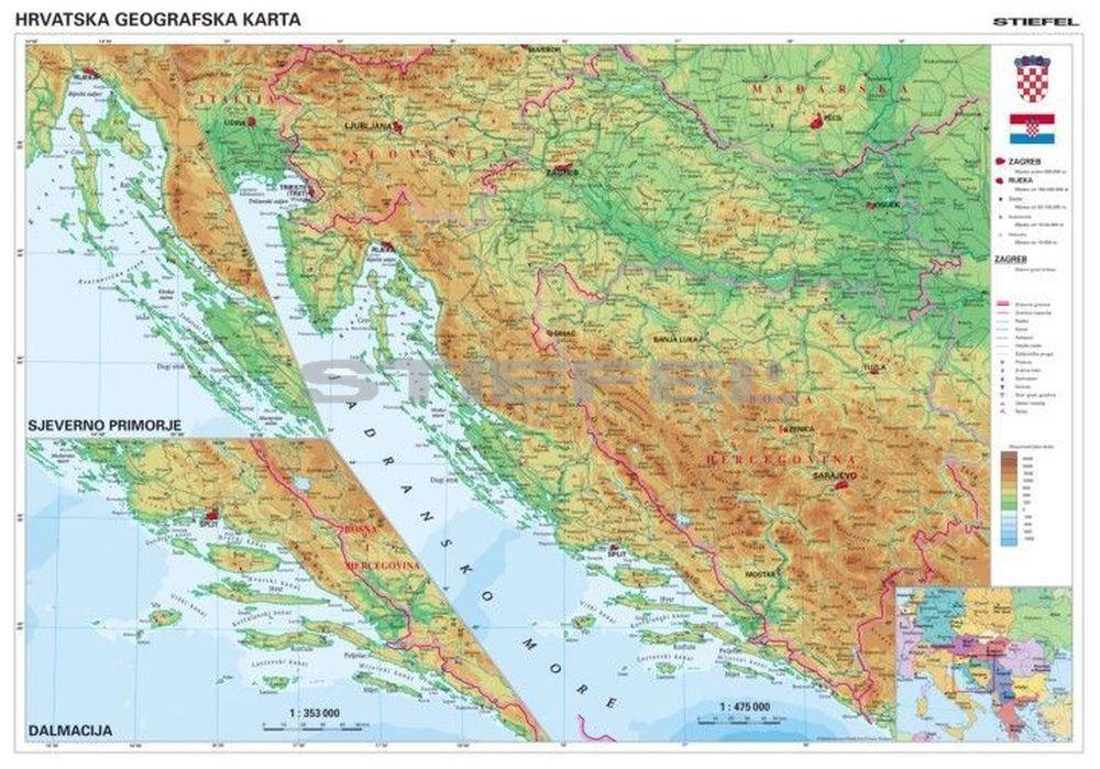 horvátország térkép részletes Horvátország domborzati térképe, tûzhető, keretes horvátország térkép részletes