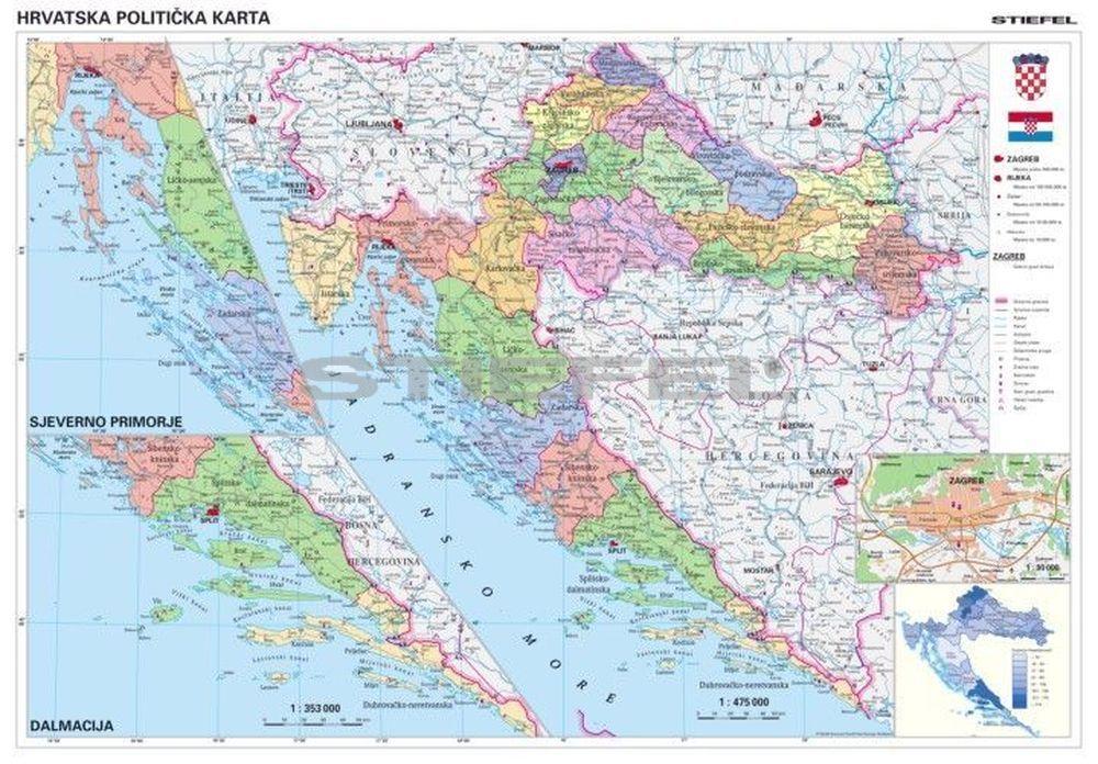 horvátország térkép Horvátország közigazgatási térképe, tûzhető, keretes