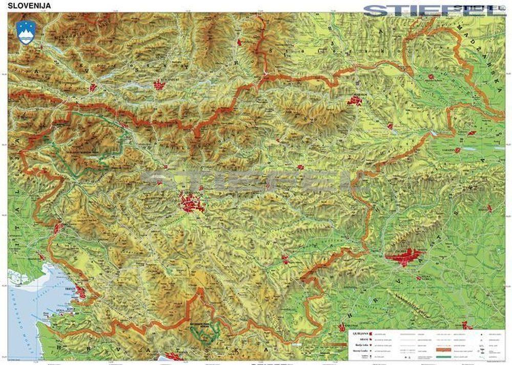 szlovénia domborzati térkép Szlovénia domborzata falitérkép szlovénia domborzati térkép