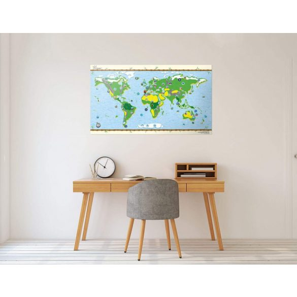 Gyerek világtérkép poszter, matricákkal, egyoldalon fóliázott kivitelben