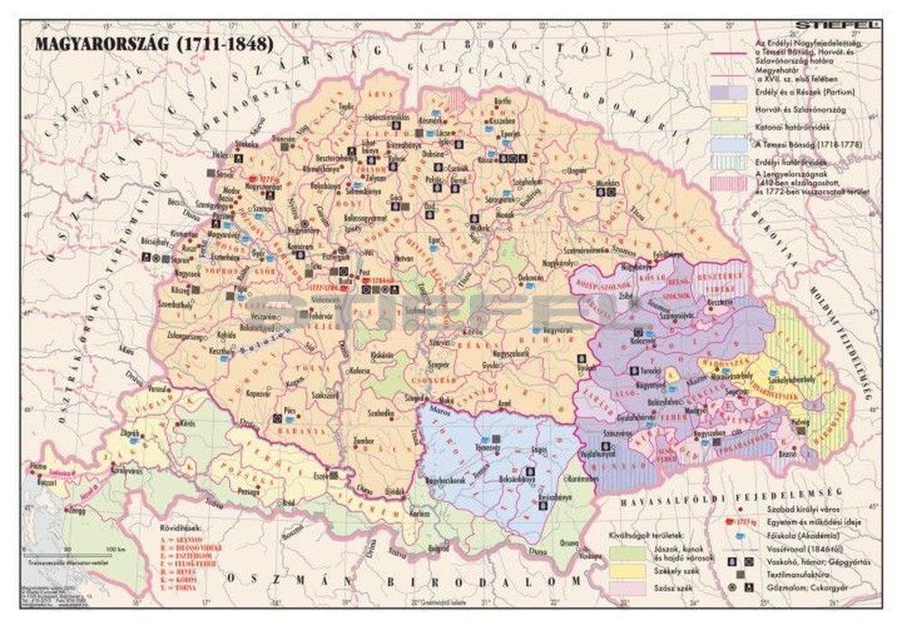 magyarország 1848 térkép Magyarország 1711 1848 között magyarország 1848 térkép