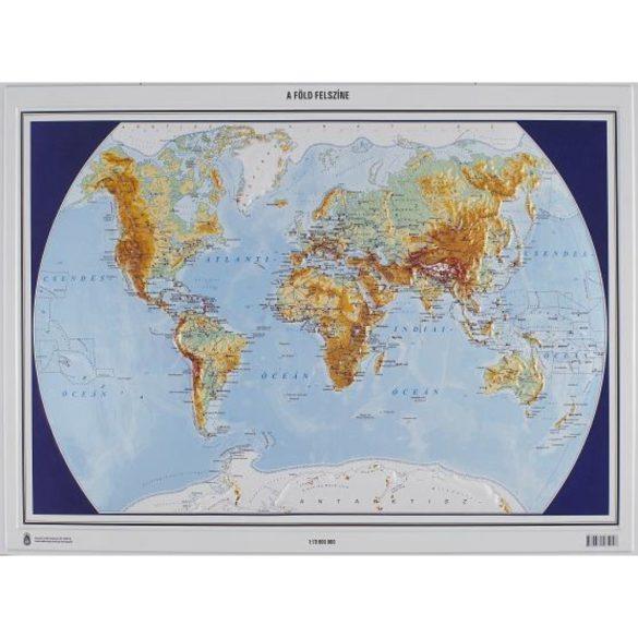 Föld felszíne és országai dombortérképe 55x48 cm