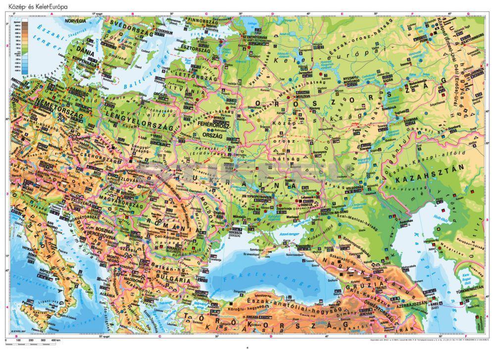 közép európa domborzati térkép Közép  és Kelet Európa domborzata közép európa domborzati térkép
