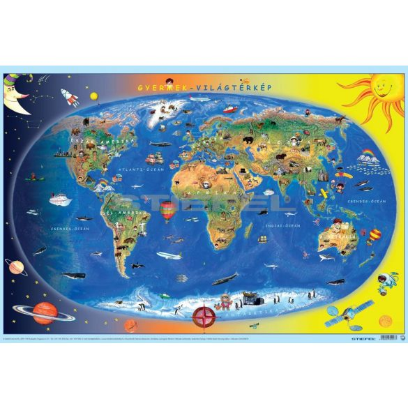 Föld országai / gyermek világtérkép kétoldalas könyöklő