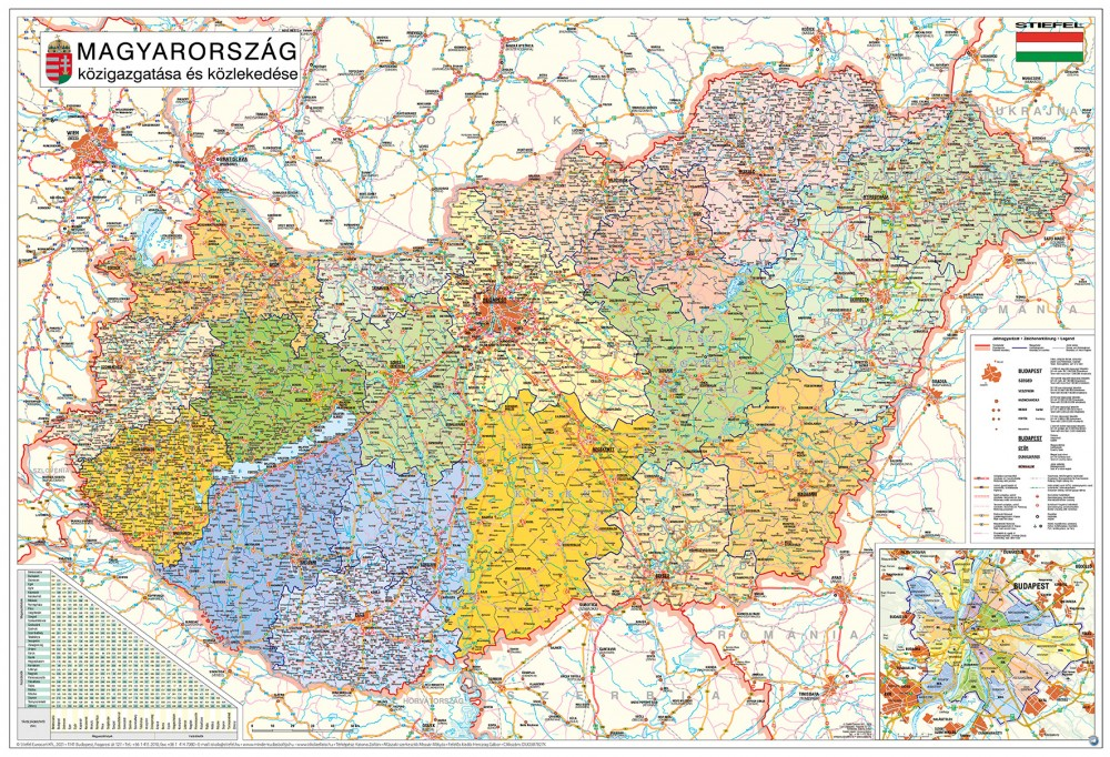 magyarország térkép Magyarország közigazgatási térkép/Magyarország autótérkép könyöklő