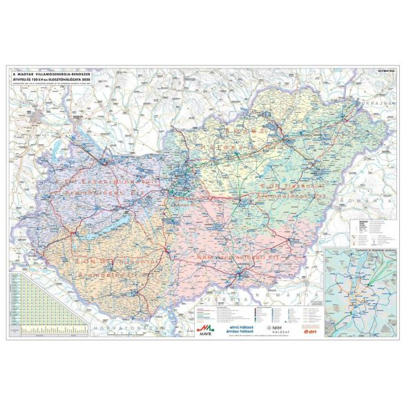 Magyarország villamoshálózati fémléces térképe 100x70