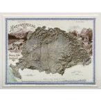 Magyarország hegyrajzi és vízrajzi térképe (Pokorny Tódor, 1899) 3D dombortérkép