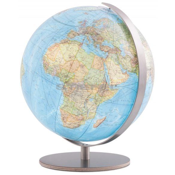 COLUMBUS DUO világítós  asztali, akril földgömb, fa+rozsdamentes acél talppal, rozsdamentes acél meridiánnal Ø 30  cm