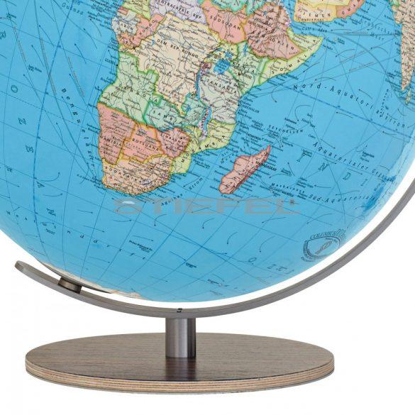 COLUMBUS DUO világítós asztali, akril földgömb, diófa talppal és rozsdamentes acél meridiánnal Ø 34  cm