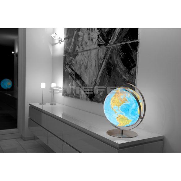 COLUMBUS DUO világítós asztali, akril földgömb, rozsdamentes acél talppal és meridiánnal Ø 34  cm