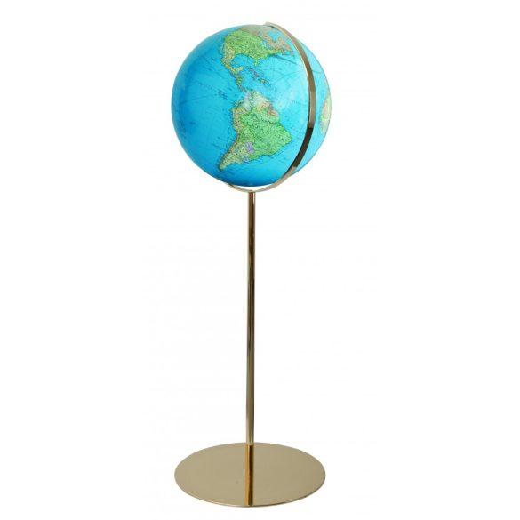 COLUMBUS DUO világítós, álló, akril földgömb, sárgaréz alappal és meridiánnal Ø 40  cm
