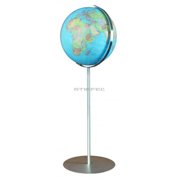 COLUMBUS DUO világítós, álló, akril földgömb, rozsdamentes acél alappal és meridiánnal Ø 40  cm