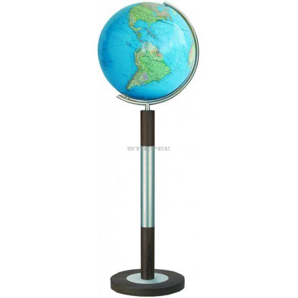 COLUMBUS DUO világítós, álló, kristályüveg földgömb, tölgyfa alappal, rozsdamentes acél meridiánnal Ø 40  cm