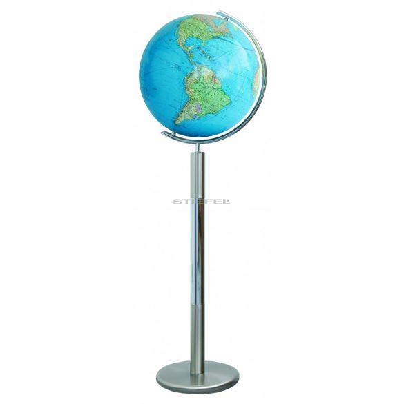 COLUMBUS DUO világítós, álló, kristályüveg földgömb, rozsdamentes acél alappal és meridiánnal Ø 40  cm