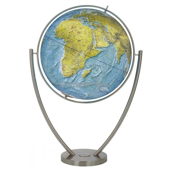 COLUMBUS DUO MAGNUM világítós, álló, politikai színezésű, polietilén, morfológiai földgömb, rozsdamentes acél talppal és meridiánnal Ø 200 cm