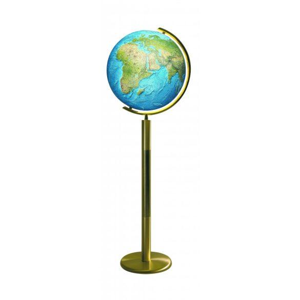 COLUMBUS DUORAMA világítós, álló, kristályüveg földgömb, sárgaréz alappal és meridiánnal Ø 40  cm