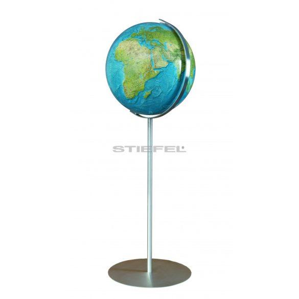 COLUMBUS DUORAMA világítós, álló, akril földgömb, rozsdamentes acél alappal és meridiánnal