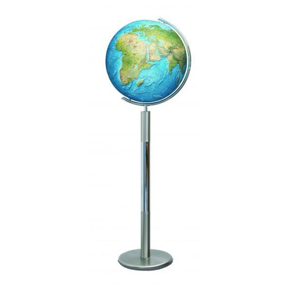 COLUMBUS DUORAMA világítós, álló, kristályüveg földgömb, rozsdamentes acél alappal és meridiánnal Ø 40  cm