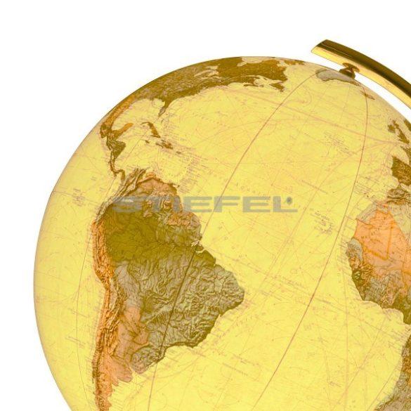 COLUMBUS ROYAL világítós, álló, kristályüveg földgömb, sárgaréz alappal és meridiánnal Ø 40  cm