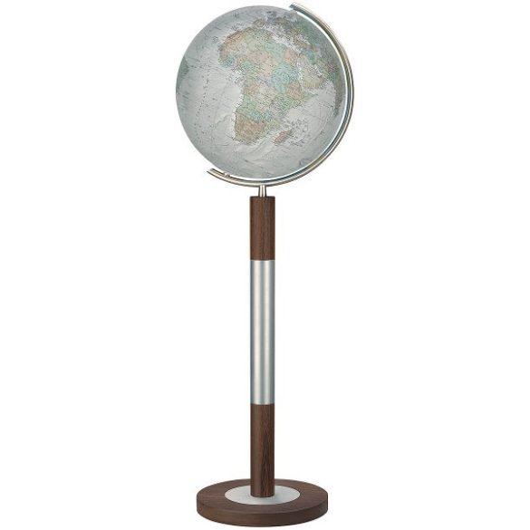 COLUMBUS DUO ALBA világítós, álló, kristályüveg földgömb, tölgyfa alappal, rozsdamentes acél meridiánnal Ø 40  cm