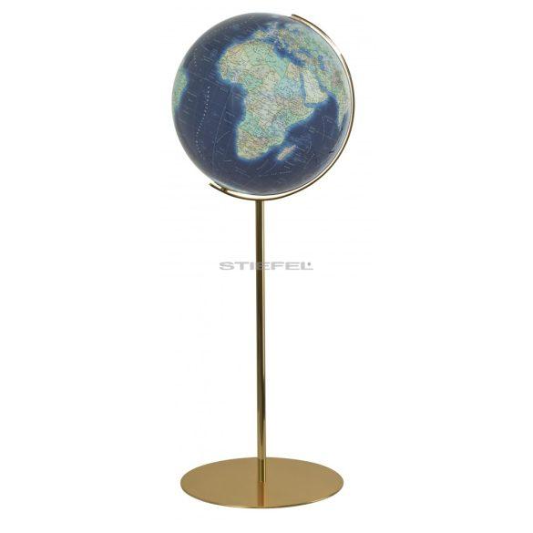 COLUMBUS DUO AZZURRO világítós, álló, akril földgömb, sárgaréz talppal és meridiánnal Ø 40  cm
