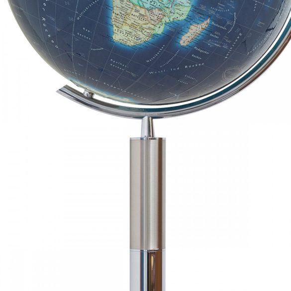 COLUMBUS DUO AZZURRO világítós, álló, kristályüveg földgömb, rozsdamentes acél talppal és meridiánnal Ø 40  cm