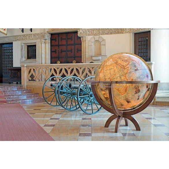 COLUMBUS IMPERIAL MAGNUM világítós, álló, antik színezésű, akrilüveg földgömb, diófa talppal és réz meridiánnal Ø 100  cm